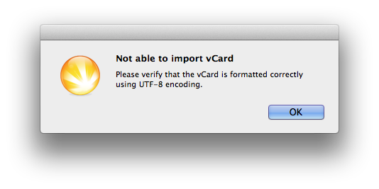 Cannot import vCard